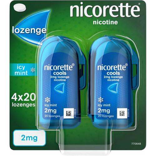 Nicorette Cools 2mg Lozenge- Icy Mint (Stop Smoking Aid) 80 per pack