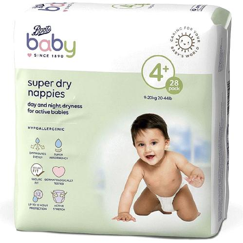 Baby Super Dry Nappies Size 4+ 28 Nappies 9-20kg