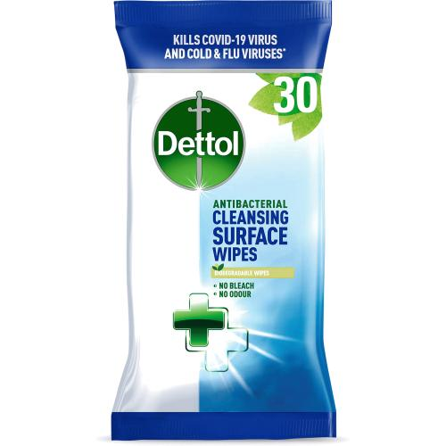 Dettol 30 Antibacterial Cleansing Surface Wipes Large 30 Pack