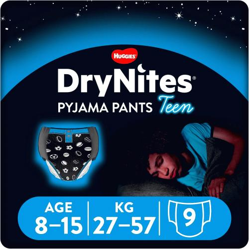 Huggies dry nites for boys 8-15years 9 Pack