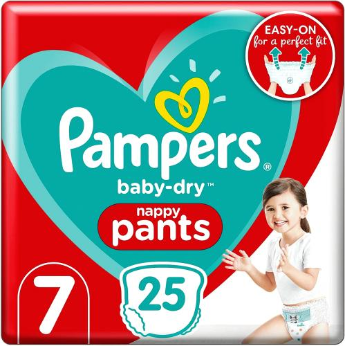 Baby-Dry Nappy Pants Size 7 25 Nappies 17kg+ Essential Pack