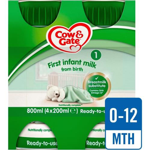Cow & Gate 1 First Baby Milk Formula Multipack From Birth 4x 200ml