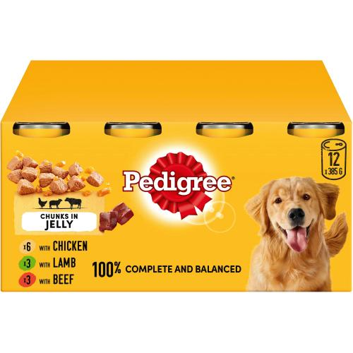 Pedigree Wet Dog Food Tins Mixed Selection in Jelly 385g