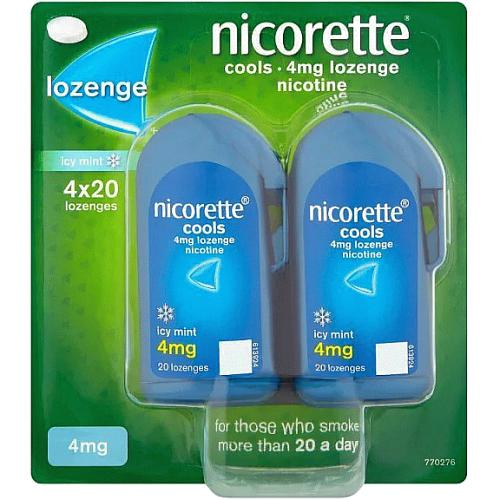 Nicorette Cools 4mg Lozenge- Icy Mint- 80 Lozenges