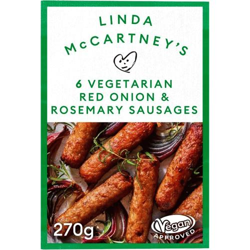 Linda McCartney's 6 Vegetarian Red Onion & Rosemary Sausages 270g
