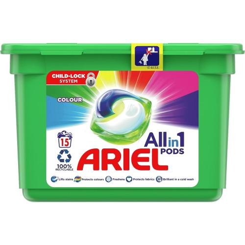 Ariel Colour All-in-1 Pods Washing Liquid Capsules 15 Washes