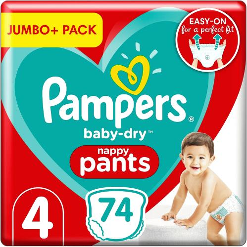 Baby-Dry Nappy Pants Size 4 74 Nappies 9kg-15kg Jumbo+ Pack