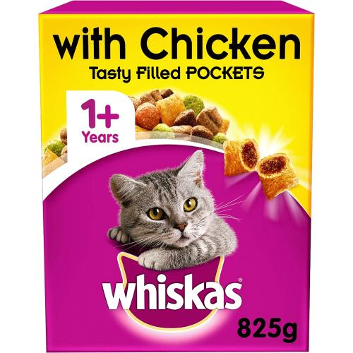 Whiskas 1+ Complete Dry Cat Food with Chicken 825g