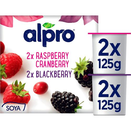 Alpro Raspberry Cranberry Yogurt Alternative 4x 125g