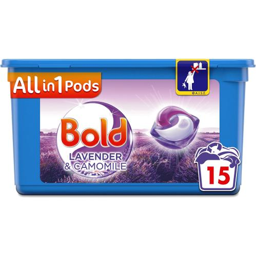 Bold All-in-1 Pods Washing Liquid Capsules Lavender & Camomile 15 Washes 15 Pack