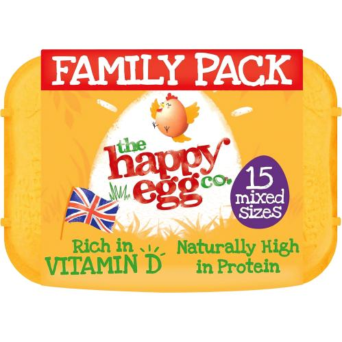 The Happy Egg Co 15 Free Range Eggs Mixed Sizes 15 per pack