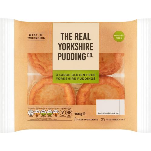 The Real Yorkshire Pudding Co 4 Large Gluten Free Puddings 160g