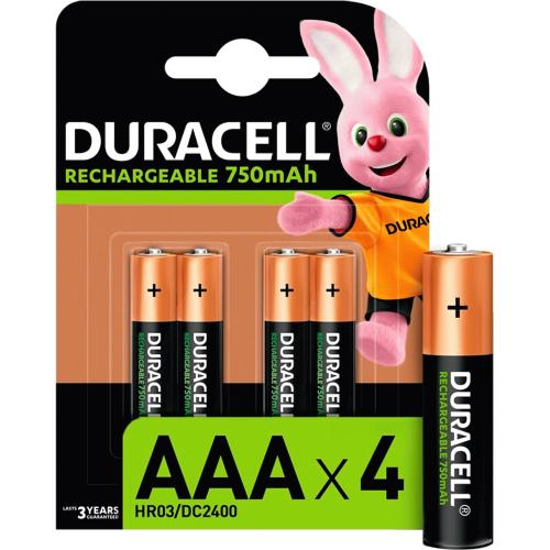 Duracell Recharge Plus AAA Batteries 750 Mah 4 per pack