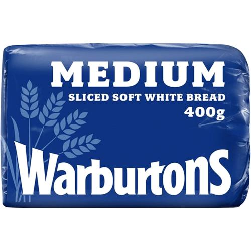 Warburtons Medium Sliced Soft White Bread 400g