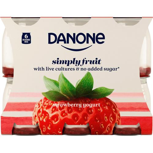 Danone Simply Fruit Strawberry Yogurt 6x 6 x 110g