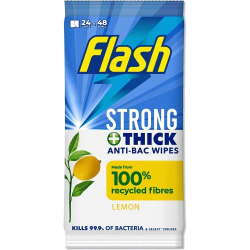 Flash Wipes Antibacterial 24 Wipe & Go 24 Pack