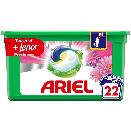 Ariel +Lenor Freshness All-in-1 Pods Washing Liquid Capsules 22 Washes