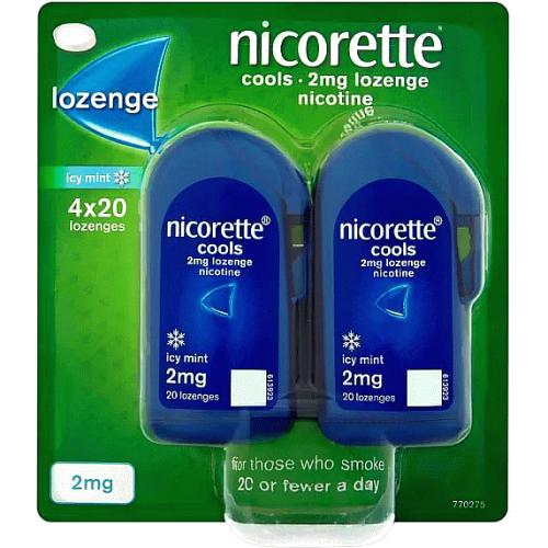 Nicorette Cools 2mg Lozenge- Icy Mint- 80 Lozenges