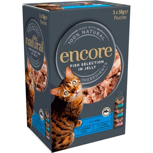 Encore Cat Food Fish Jelly Pouches 5x 5 x 50g