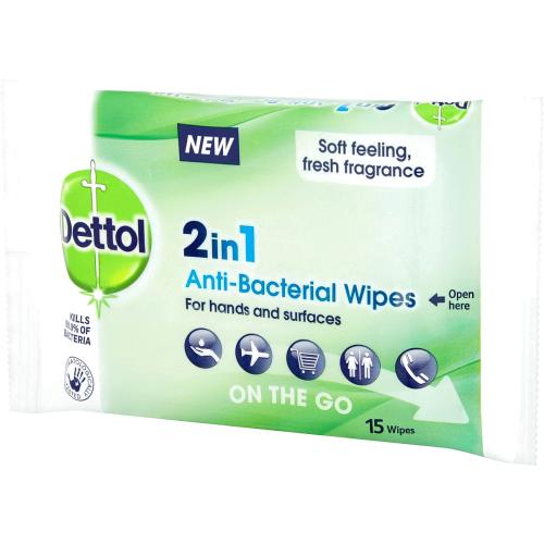 Dettol 2 in 1 Antibacterial 15 Wipes 15 wipes