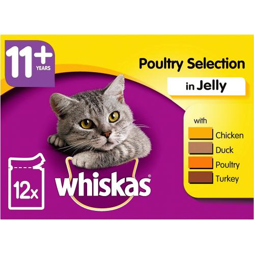 Whiskas Super Senior 11+ Wet Cat Food Pouches Poultry in Jelly 100g