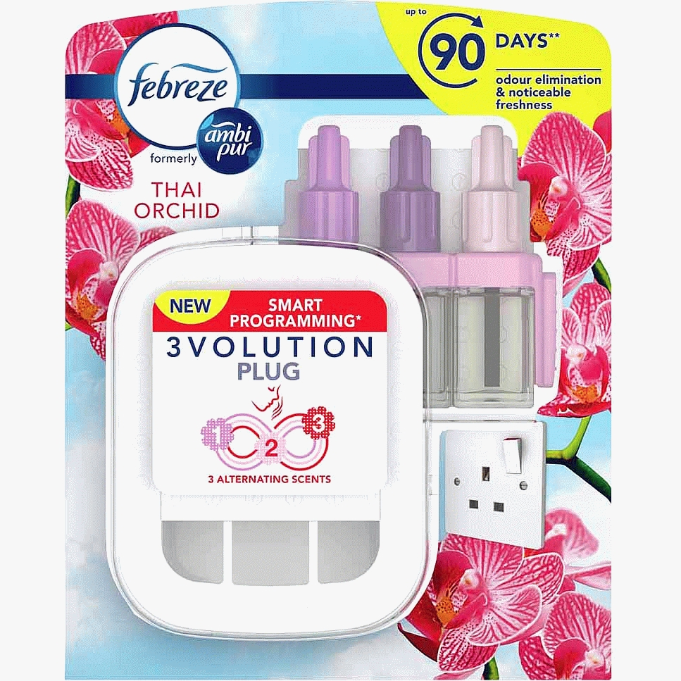 Febreze Ambi Pur 3Volution Air Freshener Thai Orchid Plug In Reusable unit & 1 Refill 20ml