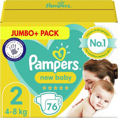 New Baby Size 2 76 Nappies 4kg-8kg Jumbo+ Pack