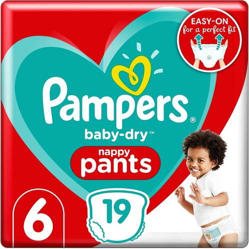 Baby-Dry Nappy Pants Size 6 19 Nappies 15kg+ Carry Pack