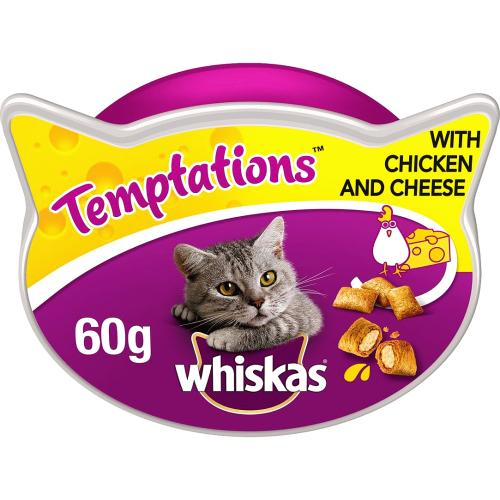 Whiskas Temptations Adult 1+ Cat Treat with Chicken 60g