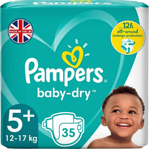 Pampers Baby Dry Size 5+ Essential Pack 35 Nappies 35 Pack