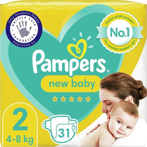 Pampers New Baby Size 2 31 Nappies 4kg-8kg Carry Pack (31)