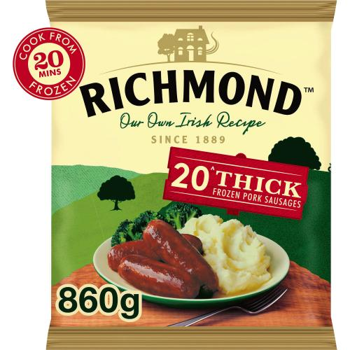 Richmond 20 Thick Frozen Pork Sausages 907g