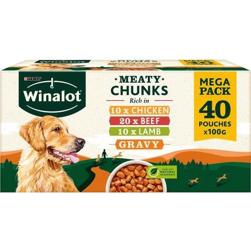 WINALOT Dog Food Pouches Mixed in Gravy 40x 100g