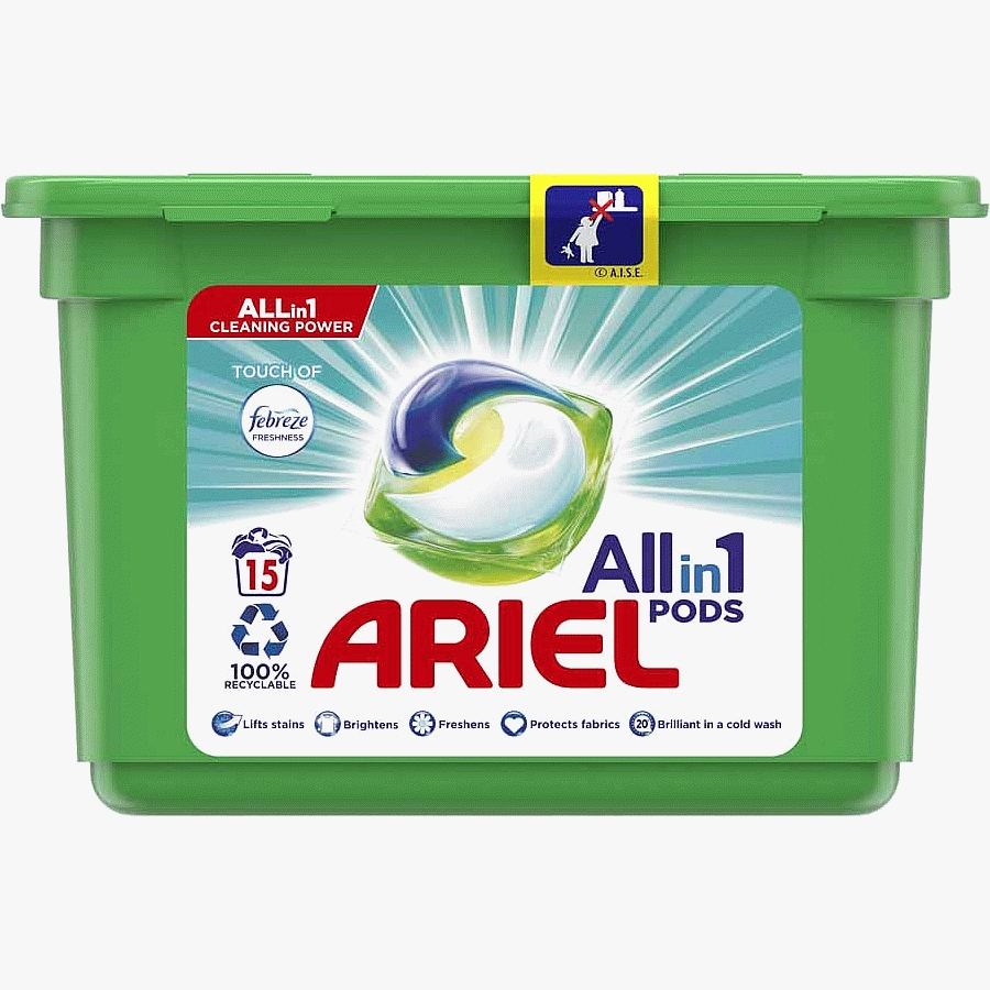 Ariel Touch of Febreze All-in-1 Pods Washing Capsules 15 Washes 15 Pack