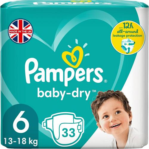 Pampers Baby Dry Size 6 Essential Pack 33 Nappies 1040g