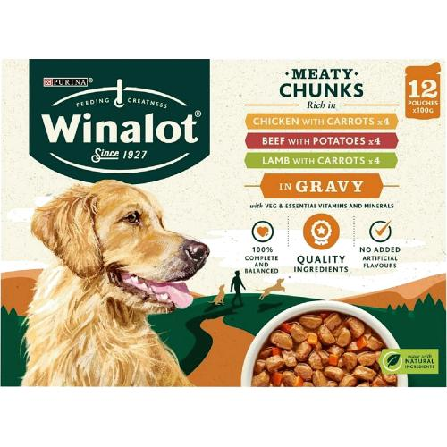 Winalot Dog Food Pouches Mixed In Gravy 12x 100g