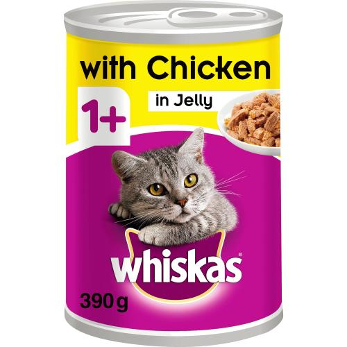 Whiskas 1+ Chicken In Jelly Tinned Cat Food 390g