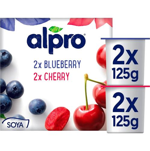 Alpro Blueberry & Cherry Yoghurt Alternative 4x 4 x 125g