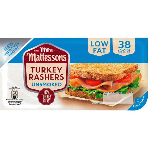 Mattessons Original Unsmoked Turkey Bacon Rashers x 8 200g