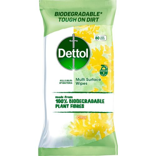 Dettol Multi Surface Wipes Citrus 80 Large Wipes 80 Pack