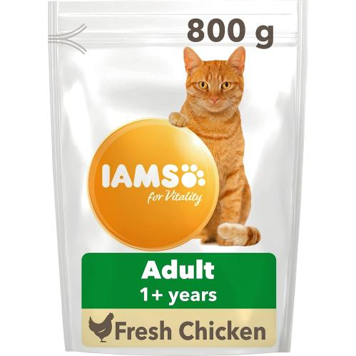 Iams Adult 1+ Cat Food With Fresh Chicken 800g