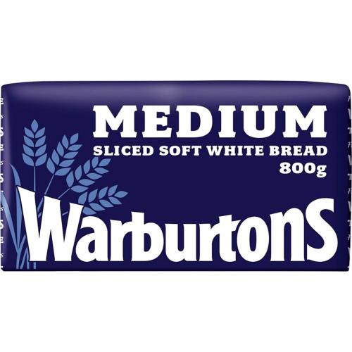 Warburtons Medium Sliced Soft White Bread 800g