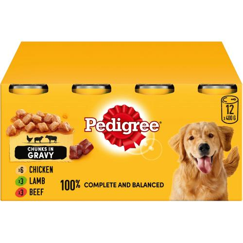 Pedigree Wet Dog Food Tins Mixed Selection in Gravy 400g