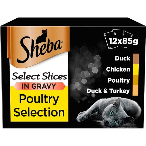 Sheba Poultry In Gravy Cat Food Pouches 12x 12 x 85g