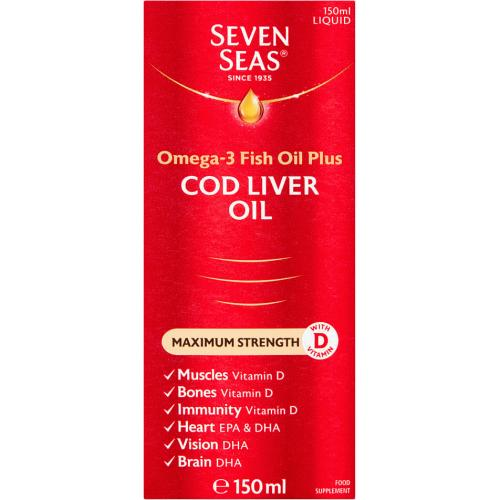 Seven Seas Omega-3 Fish Oil Plus Cod Liver Oil Extra High Strength 150ml