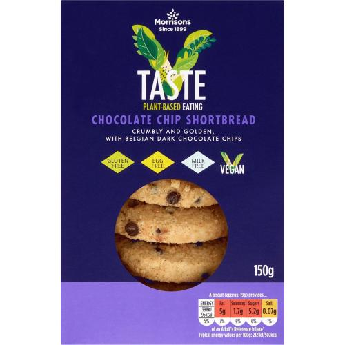 Morrisons Free From Chocolate Chip Vegan Shortbread 150g