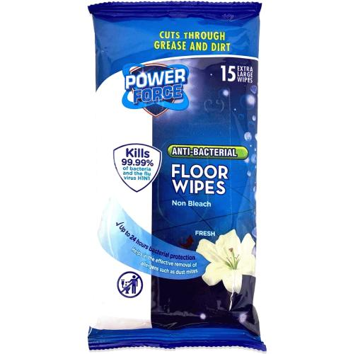 Power Force Floor Wipe Antibacterial - Antibacterial Floor Wipe Fresh 15pack