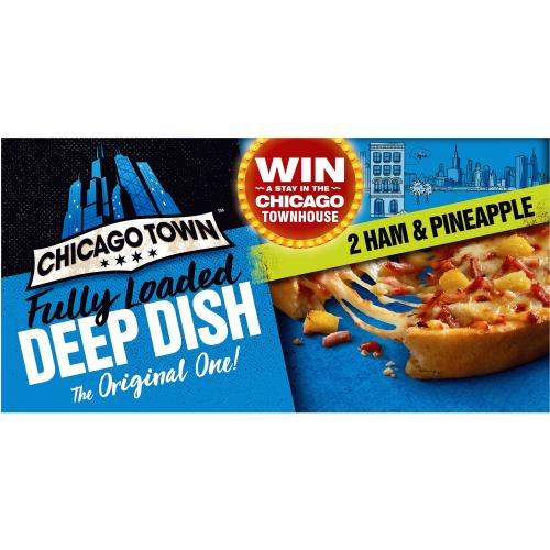 Chicago Town 2 Deep Dish Ham & Pineapple Pizzas 330g
