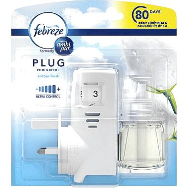 Febreze Ambi Pur Air Freshener Cotton Plug In Reusable Unit & 1 refill 20ml