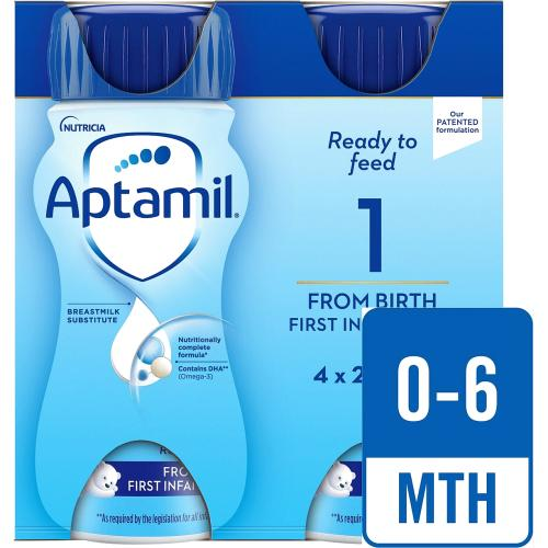 Aptamil 1 First Baby Milk Formula Multipack from Birth 4x 200ml